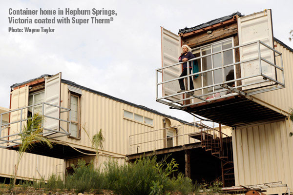 Container home in Hepburn Springs, Victoria coated with Super Therm®